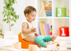 Toddler working on potty training
